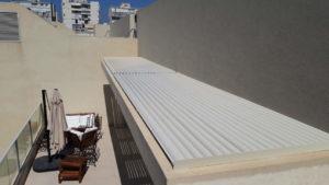 פרגולה אלומיניום על בטון קיים בצפון תל אביב