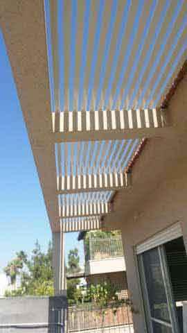 רפרפות פרגולה אלומיניום על תשתיות בטון קיים